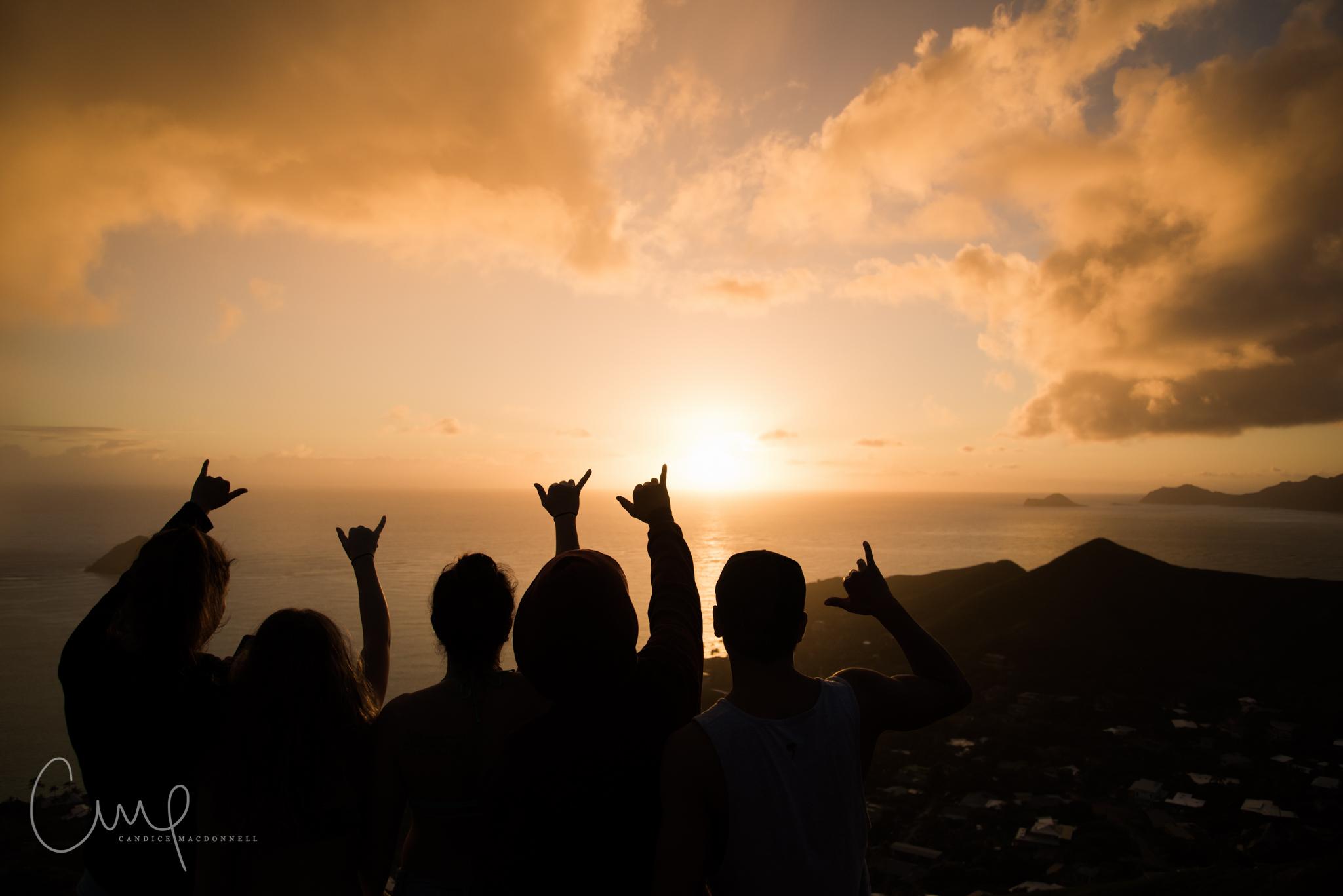shaka aloha sillohette lanikai pillboxes oahu hawaii