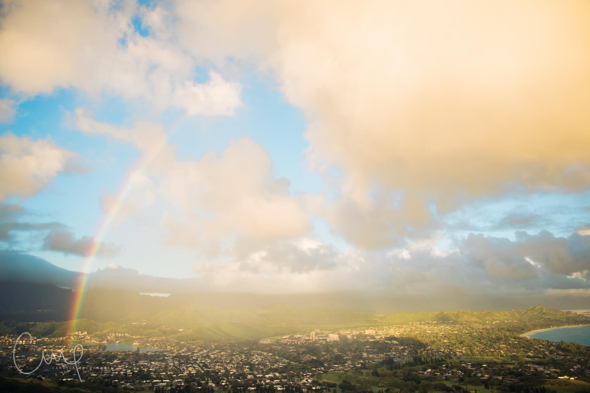double rainbow lanikai oahu hawaii lifestyle family photographer