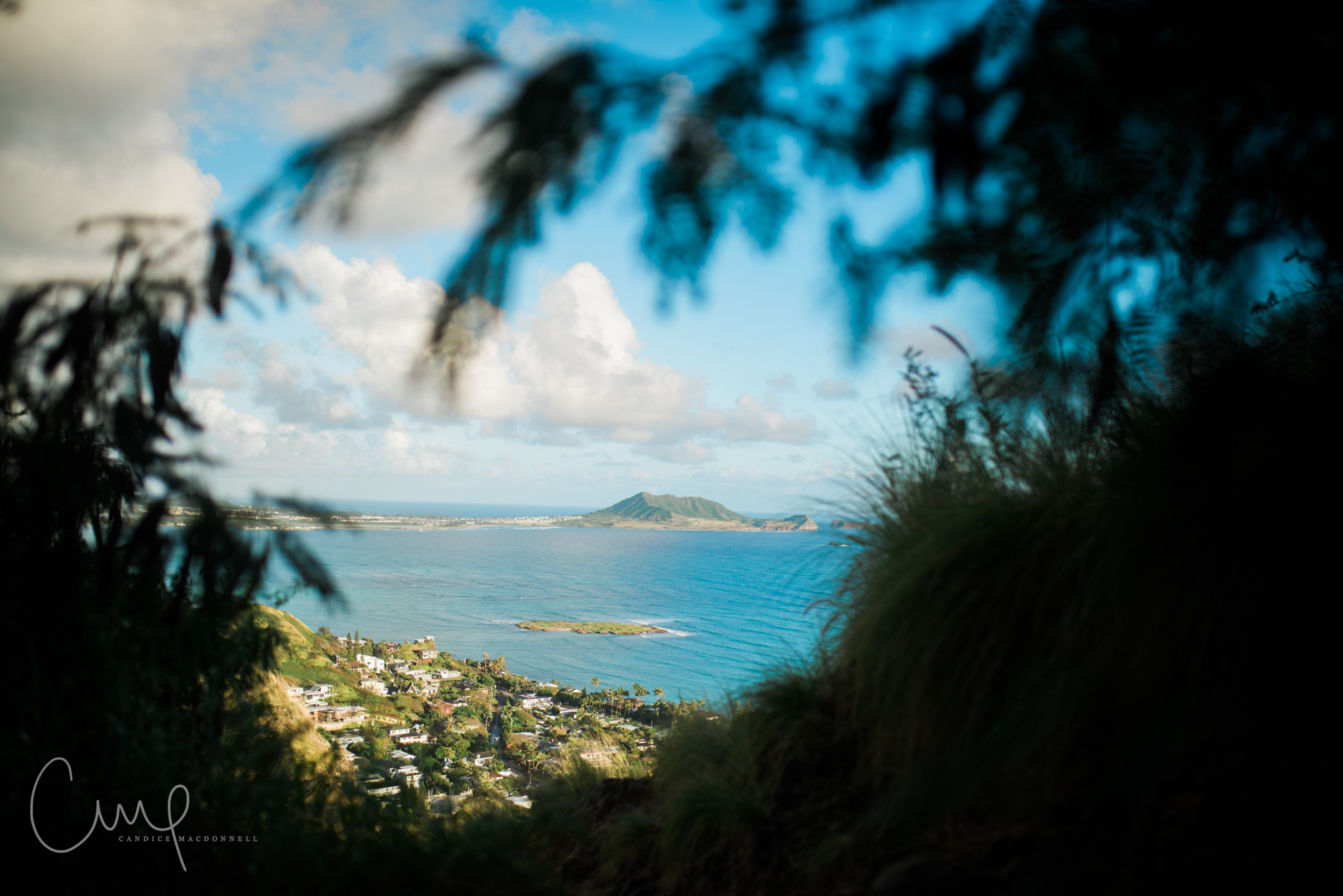 view of lanikai beach and islands from first pillbox