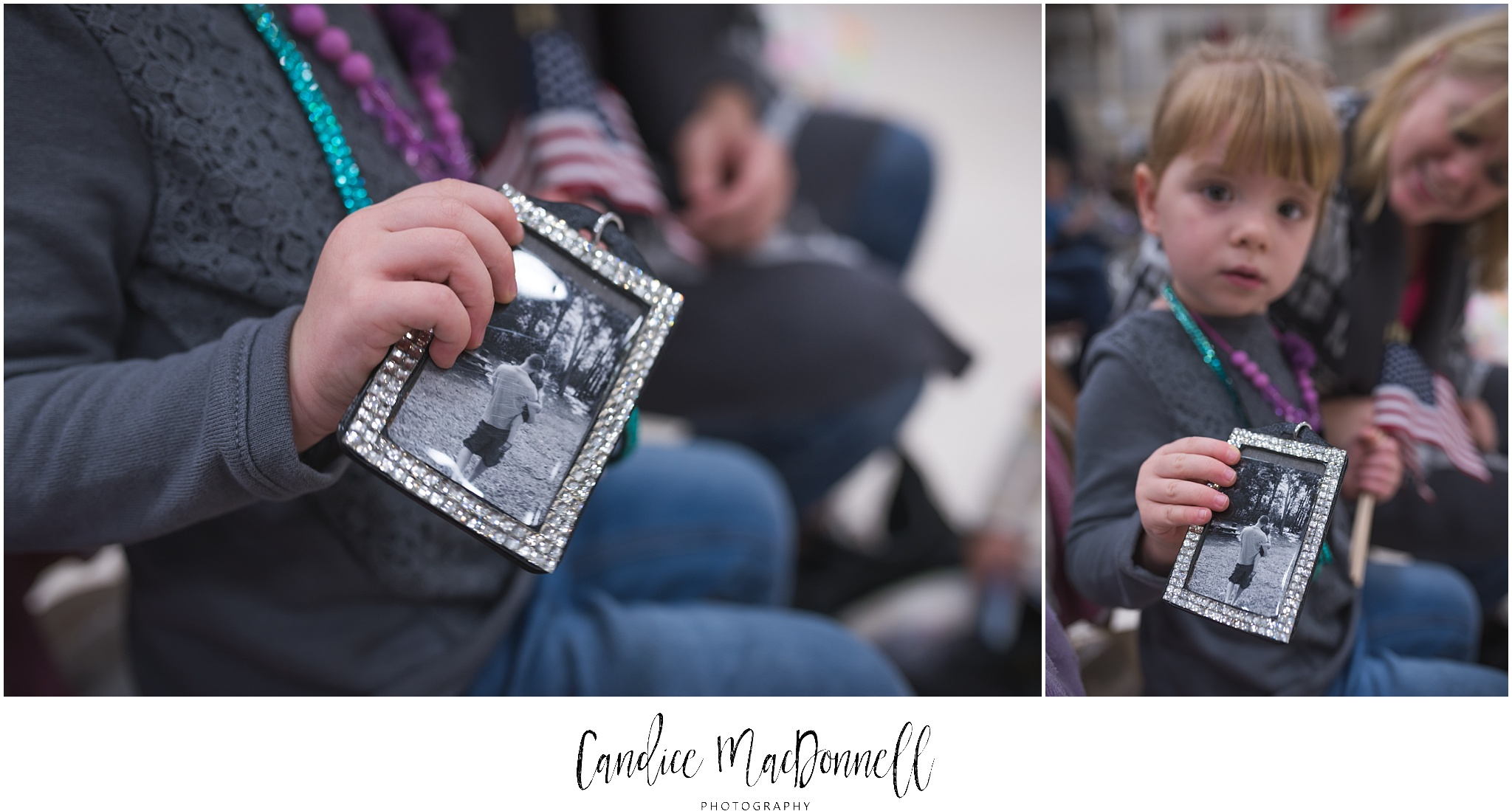 little girl showing photo of her father welcome them home hawaii photographer