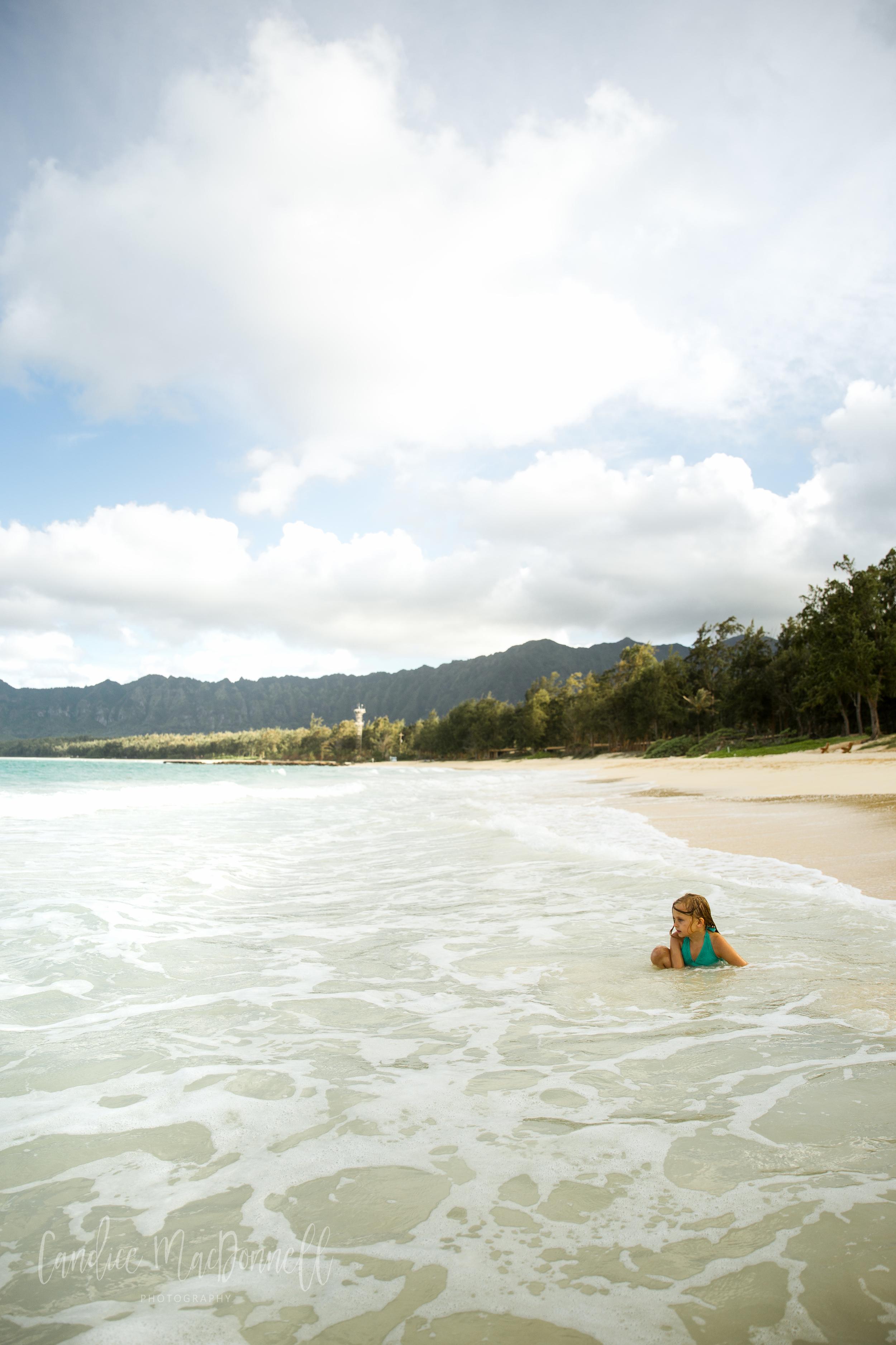 girl on bellows beach oahu hawaii lifestyle family photography