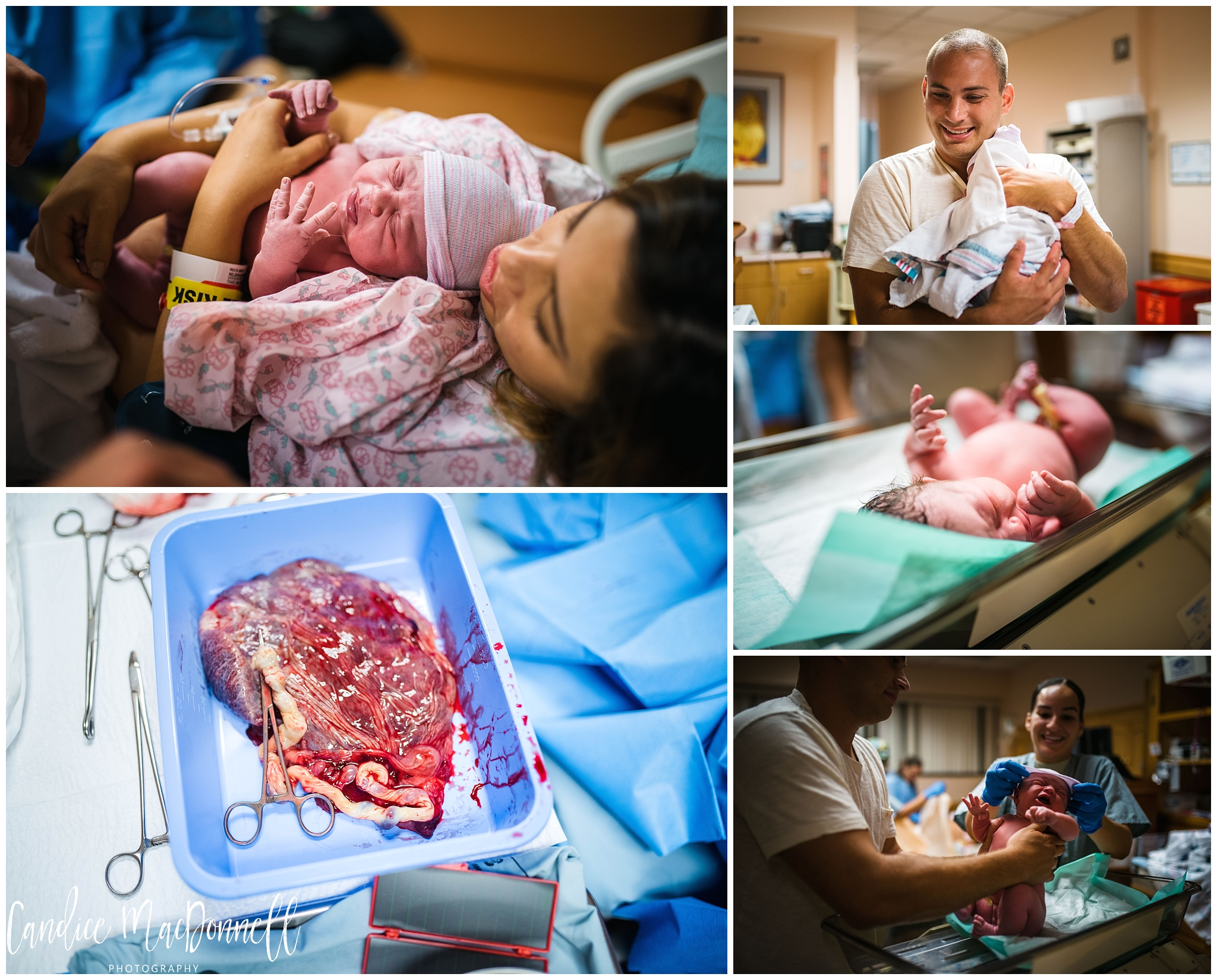 first moments with newborn baby, placenta, oahu birth photography