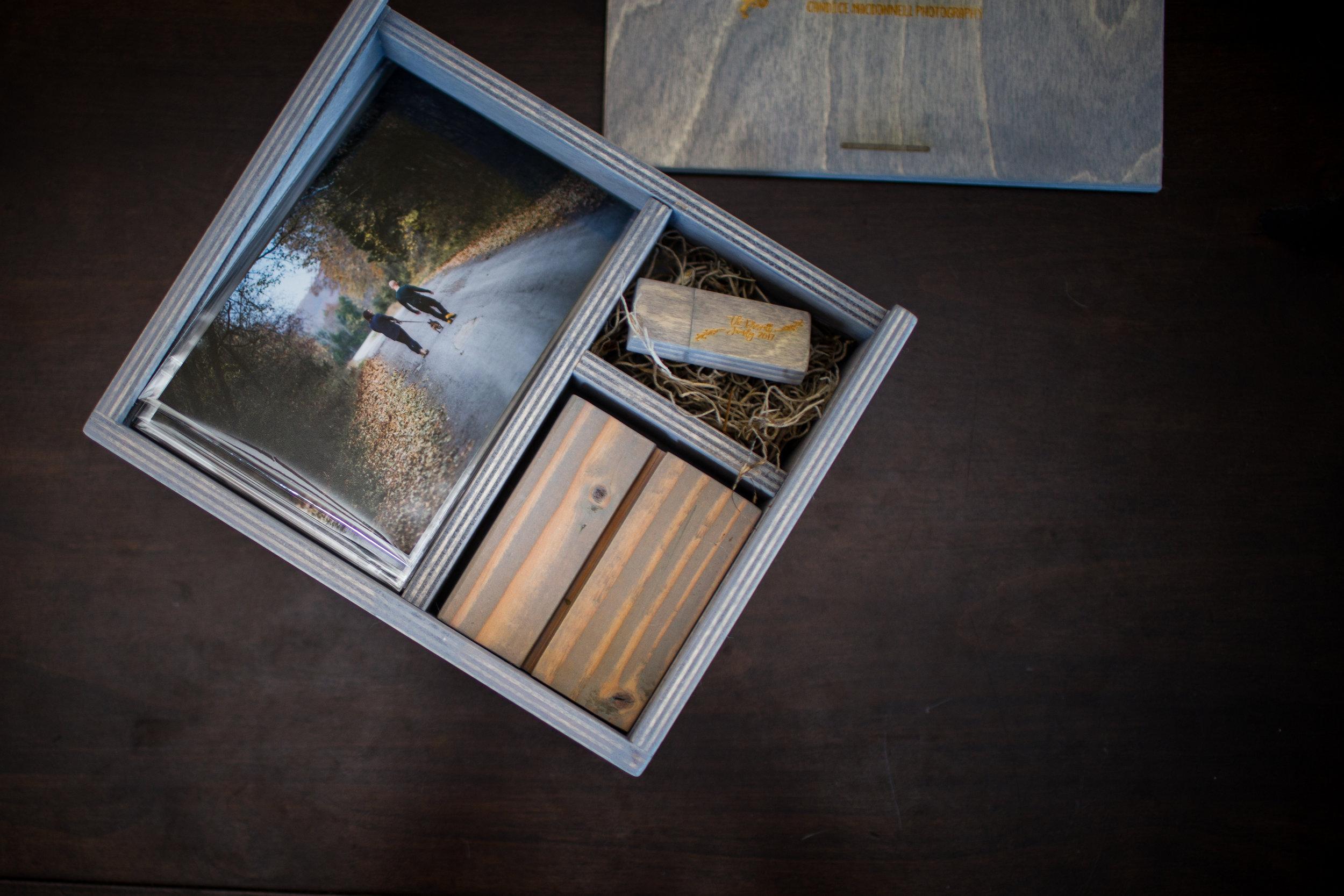 wooden photo album box with prints and usb waynsville photogarpher missouri