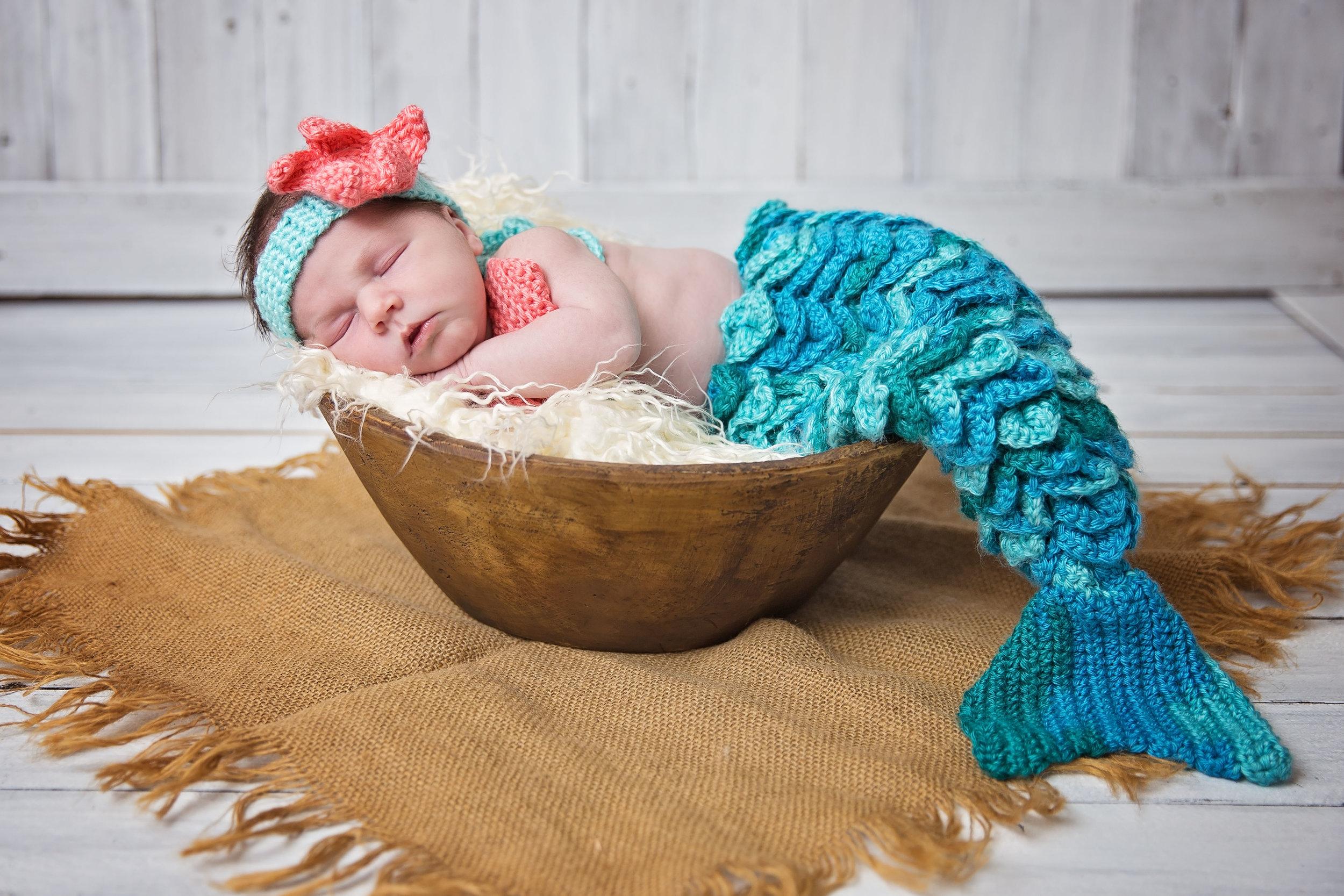 mermaid baby newborn studio photography waynvesville missouri