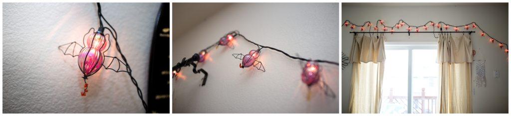 purple bat string lights for Halloween
