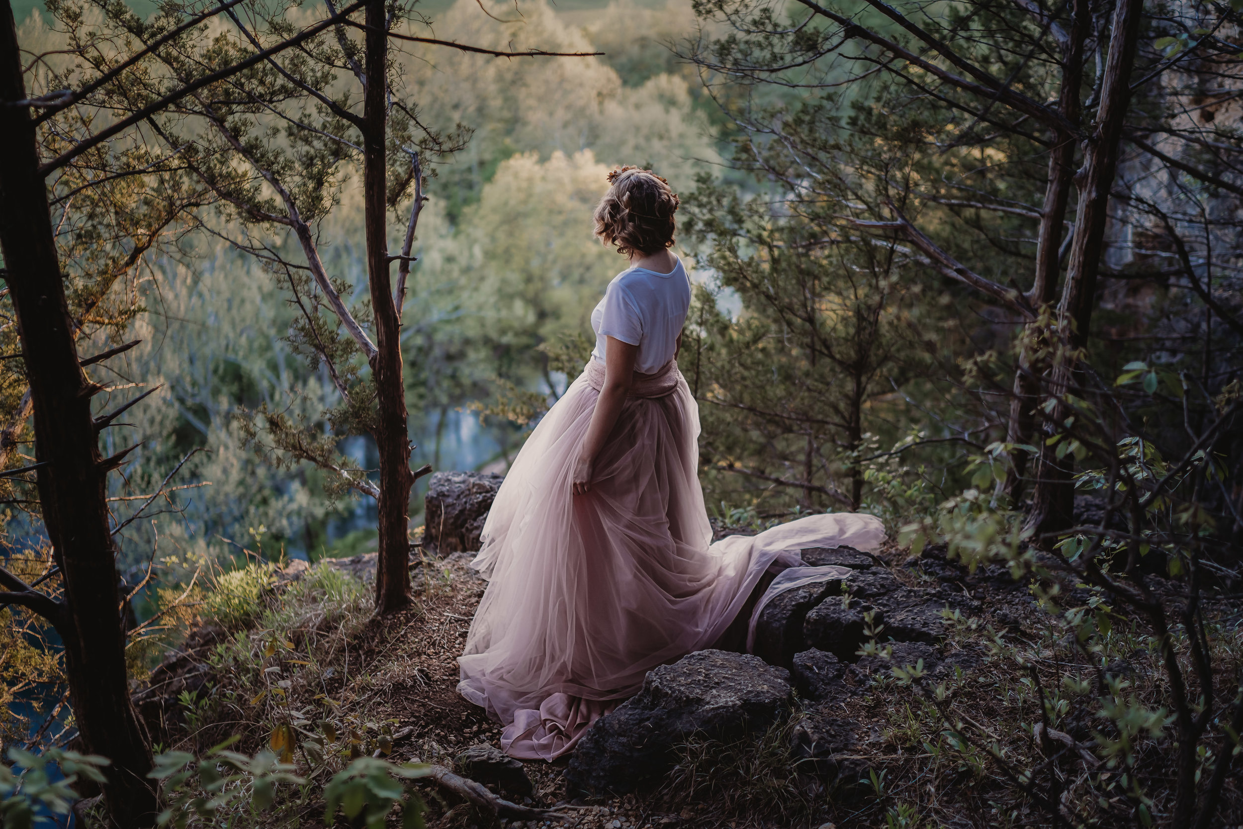 girl in ballgown overlooking springs by cliff waynesville missouri photography