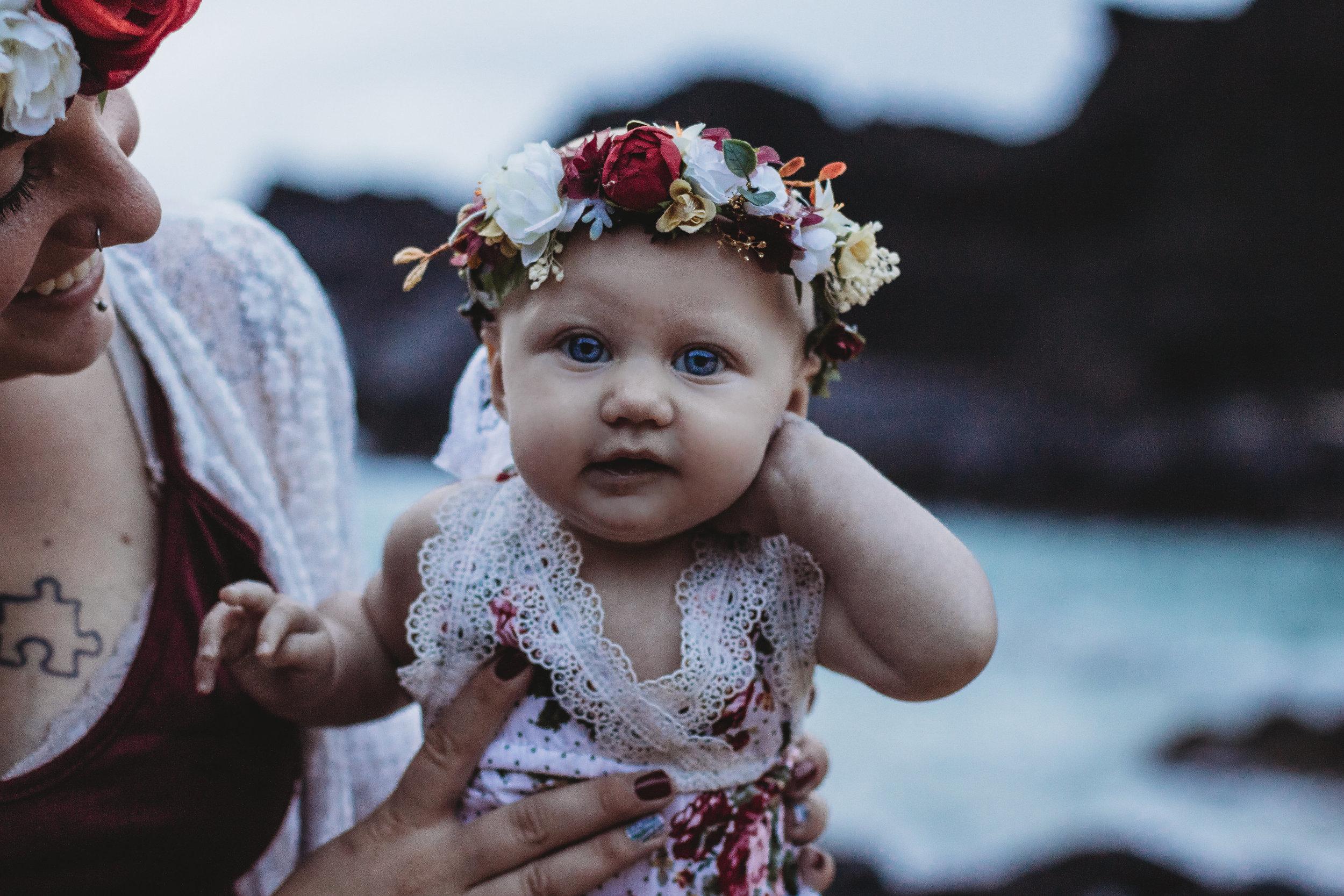 Mother and baby on Hawaii Beach nursing photo shoot