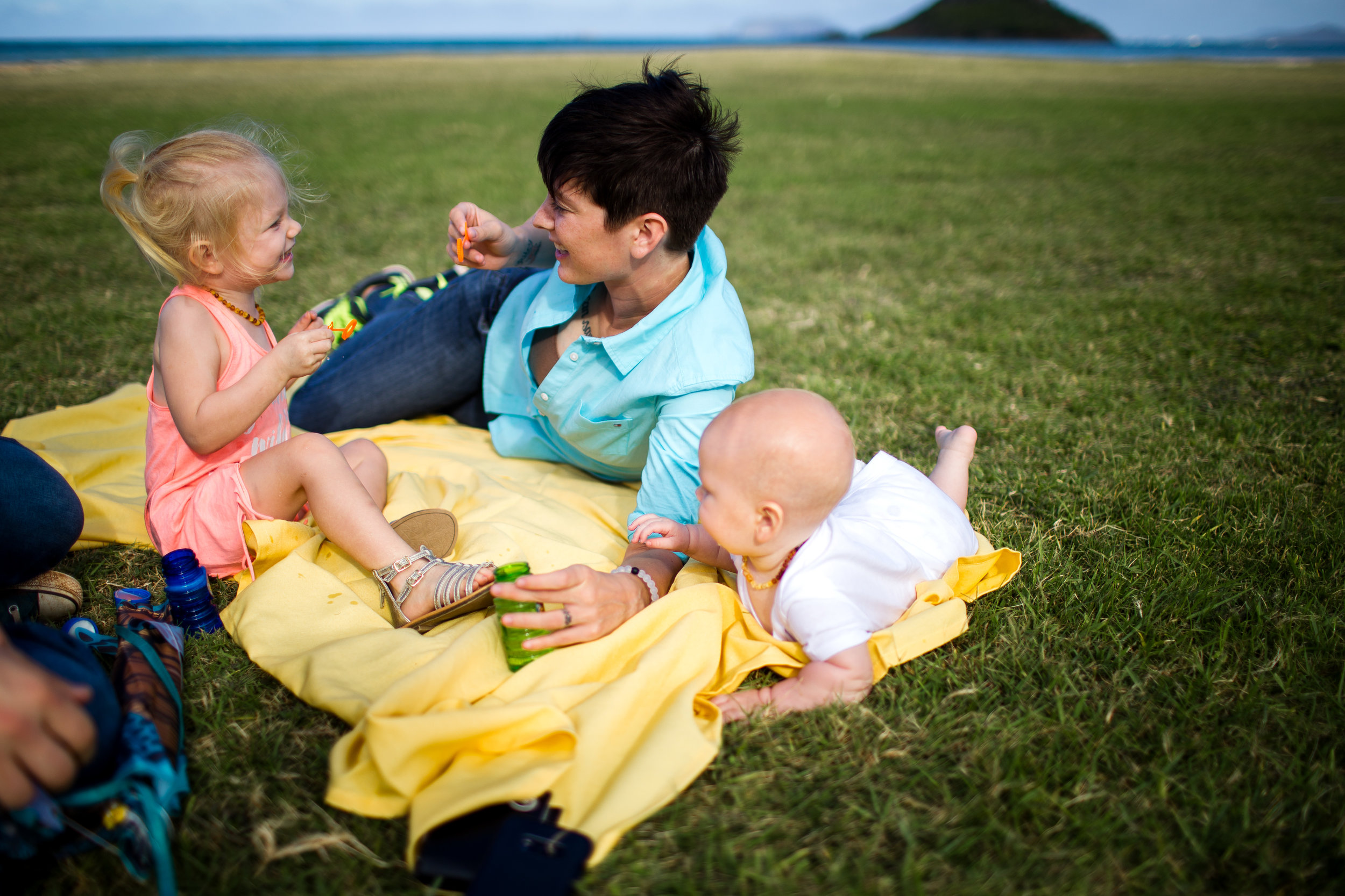 burke va documentary birth family photographer mother with baby and toddler on blanket in field by ocean