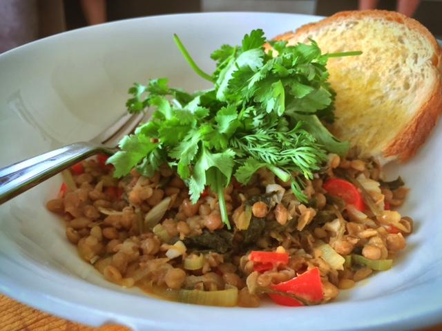 Warm lentils, leek & kale salad