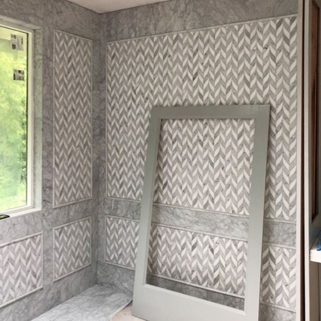 Sneak peak of the master bath that will be finished in the next few weeks! I can't wait to share. It's so good! #sneakpeak #fancy #annsacks #marble #mosaic