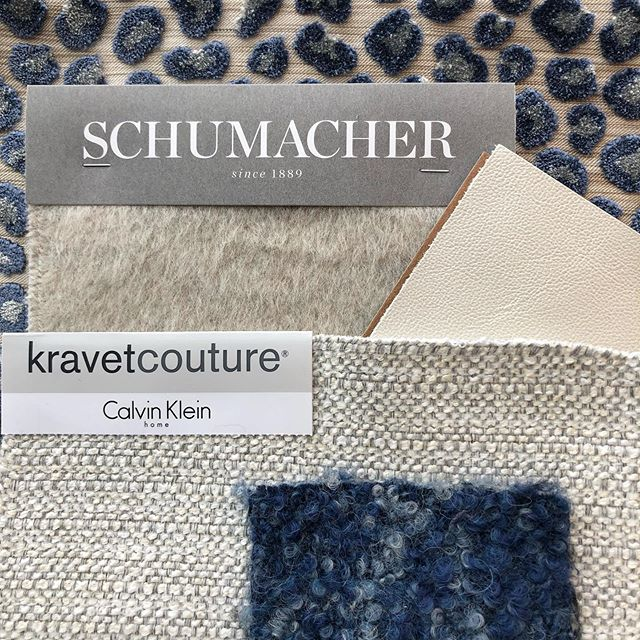 #textiletuesday 💙 Loving this fabric palette recently finalized for the Bellevue project family room! Light cozy neutrals for upholstery, punctuated with blue accent pillows 💙