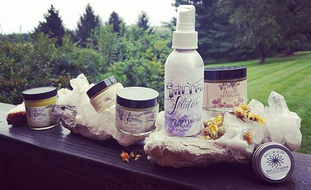 Sacred Solutions Skin Care & Tattoo Aftercare Products available @blacklotustat2gallery and on Etsy!  @sacredsolutions @rootsbykaren at the Pajama Factory in Williamsport,  Pa., and At the Street of Shops in Lewisburg, Pa,  and at @sacredsolutions 🌿🍃🌱💜💫💚 sacredsolutionsskincare.com! 💜💫💚#sacredsolutions #bltg #etsyshop #etsy #etsyfinds #tattooaftercare #tattoohealing #inkhealing #handmade #withlove #hardwork #organic #aftercare #skincare #woundcare #sunburncare #blacklotustattoogallery #tattoobalm #naturalskincare #organicskincare #treatyoself #organic