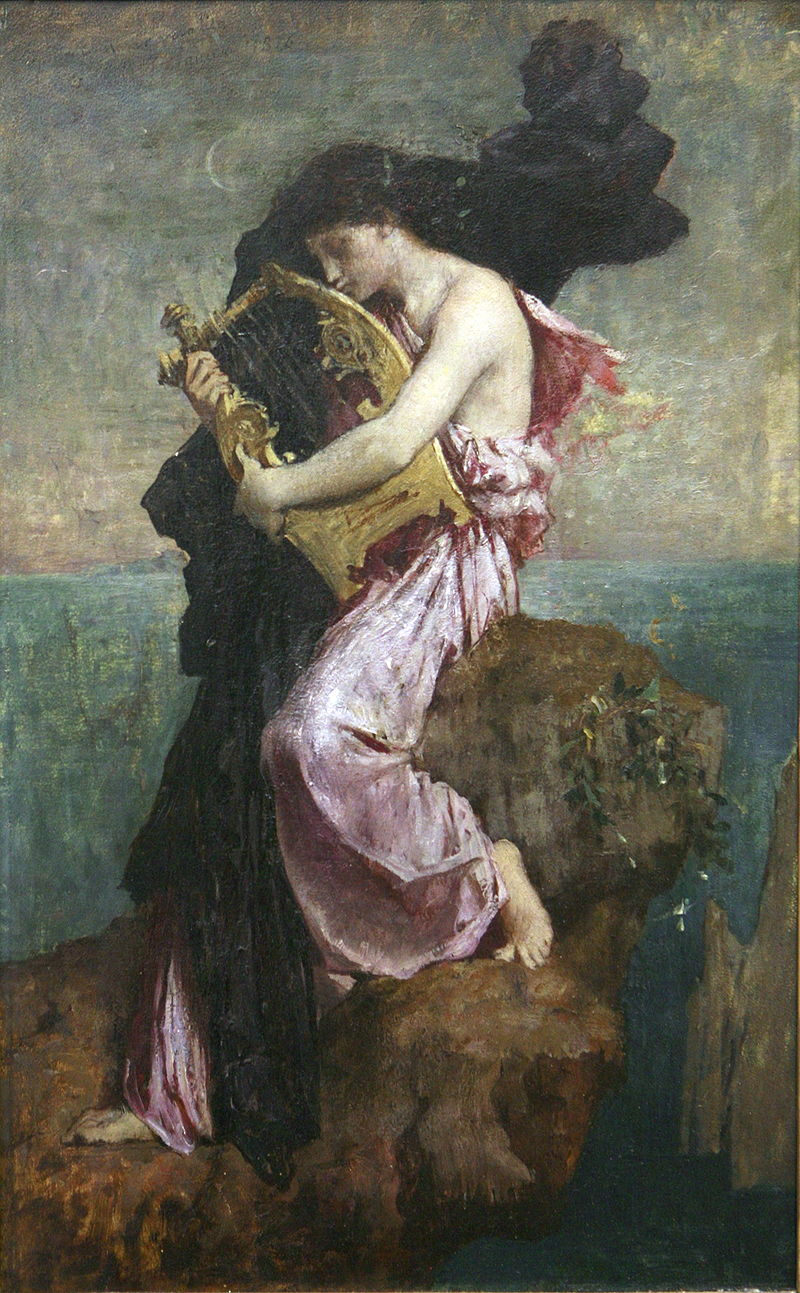 """Sappho embrassant sa lyre,""  Jules Elie Delaunay (1828 - 1891)"