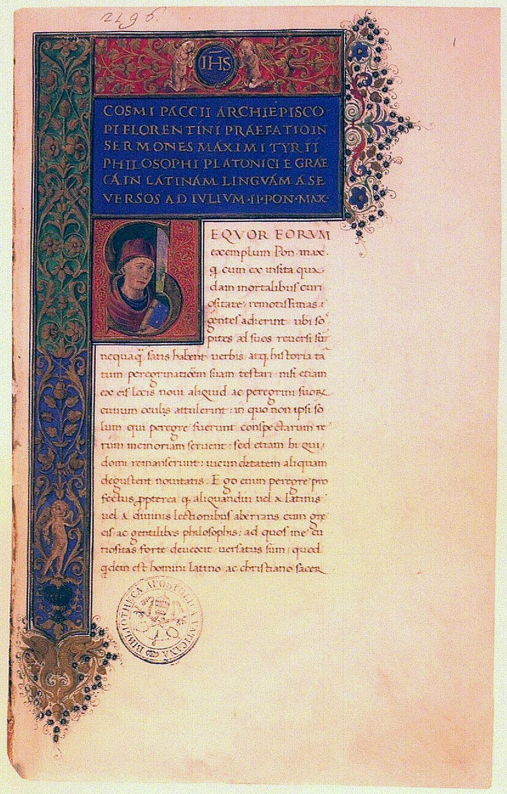 Discourses of Maximus of Tyre in the Latin translation by Cosimo de' Pazzi, Archbishop of Florence  | Early 16th century