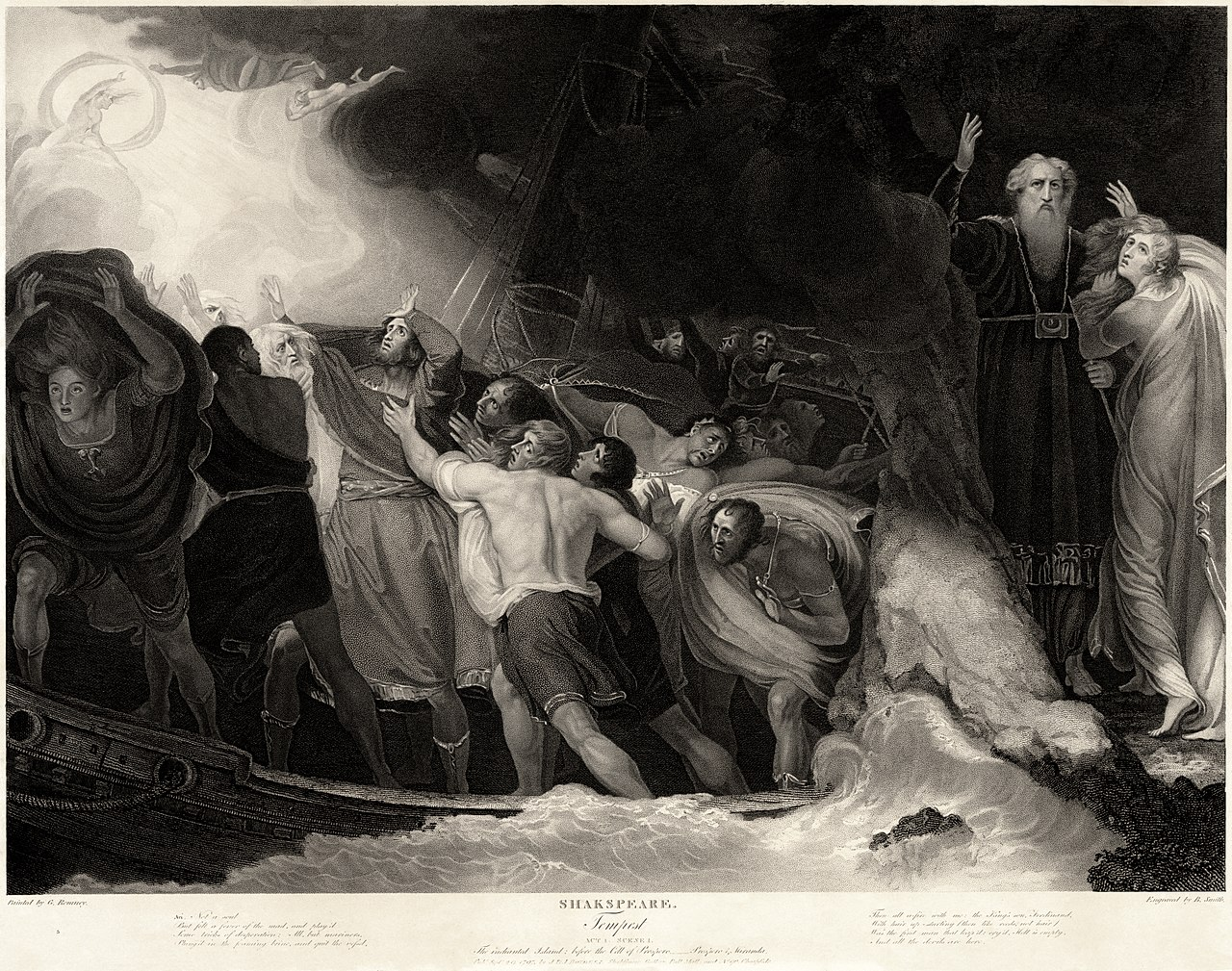 Act I, Scene 1 of  The Tempest  by William Shakespeare | Benjamin Smith, after George Romney | 1797 | engraving