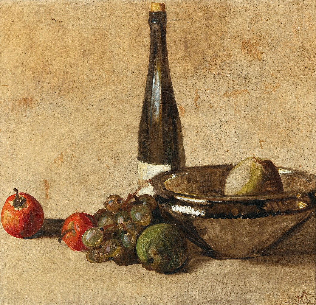 Still life with wine bottle and fruit  | Kurt Schwitters | 1948 | oil on canvas
