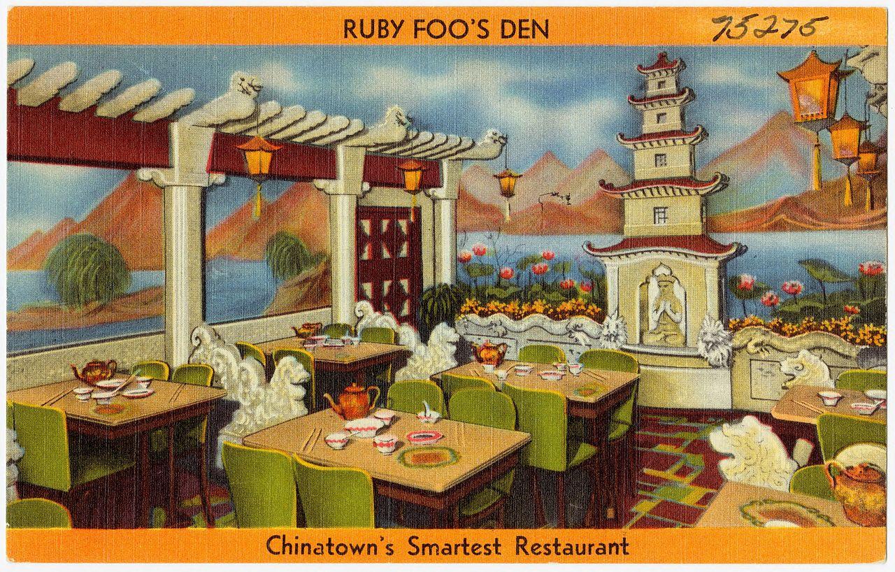 Ruby Foo's Den, Chinatown's smartest Restaurant  | Tichnor Bros. Inc. | c. 1930 | linen postcard