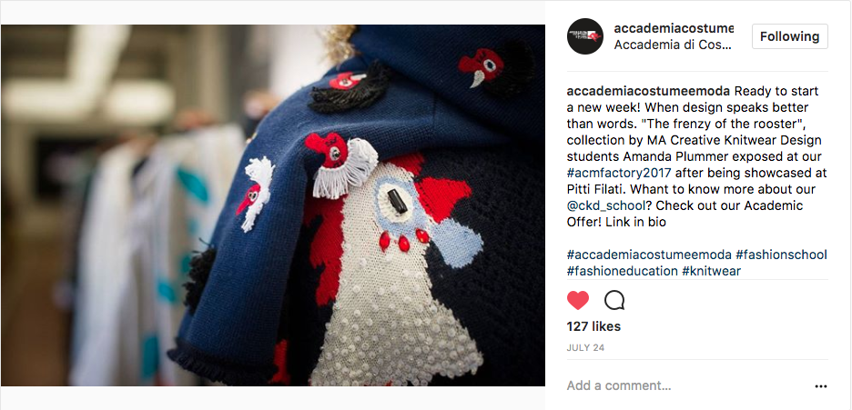 "ACCADEMIA COSTUME & MODA INSTAGRAM   Ready to start a new week! When design speaks better than words. ""The frenzy of the rooster"", collection by MA Creative Knitwear Design students Amanda Plummer exposed at our  #acmfactory2017  after being showcased at Pitti Filati. Whant to know more about our  @ckd_school ? Check out our Academic Offer! Link in bio"