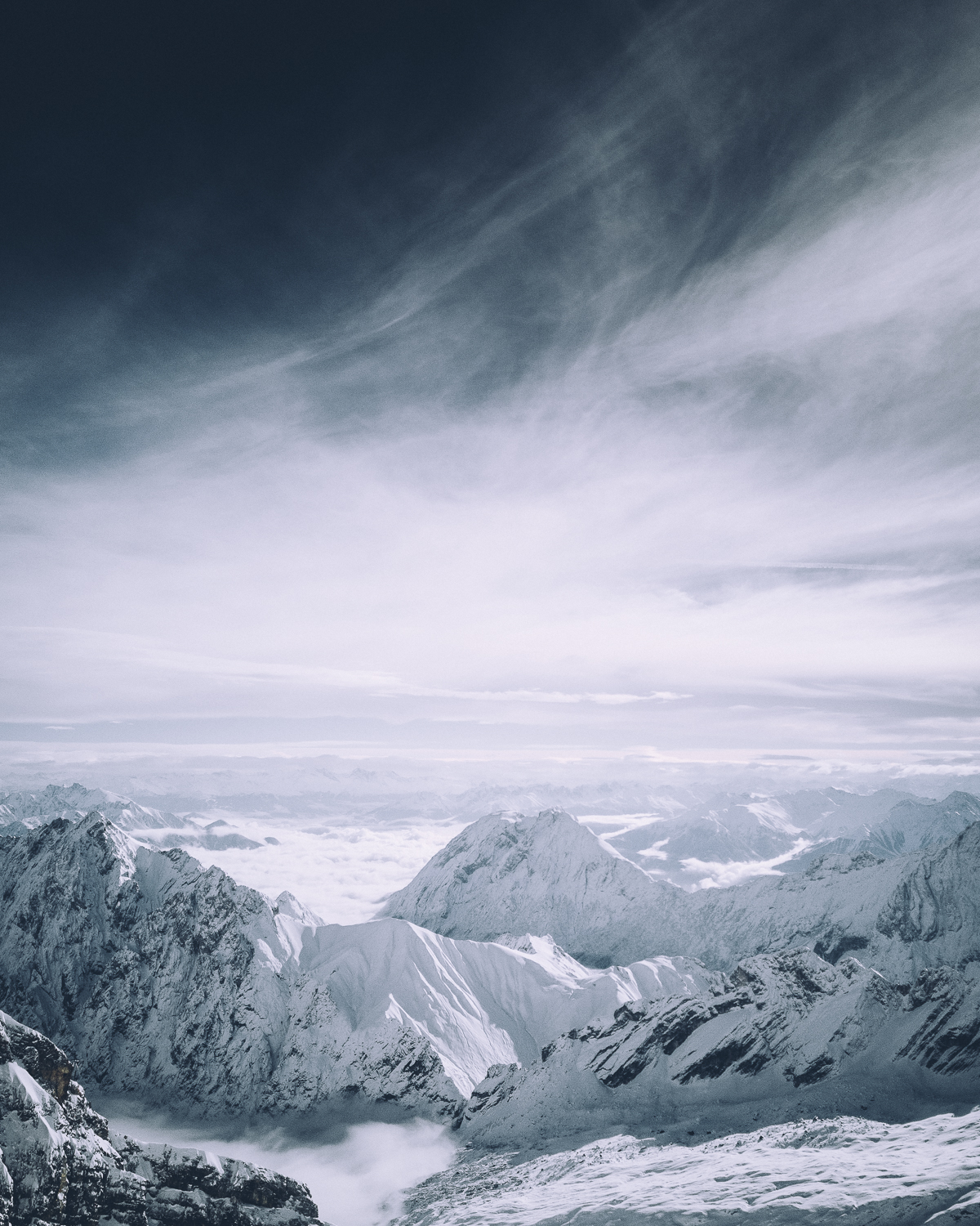 In this image from the Zugspitze in Germany, I deliberately chose to give the sky 2/3 os the space to open up the scene and show the magnificence of the space.