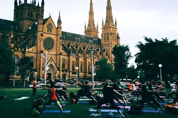 Yoga in Hyde Park for Sydney Festival