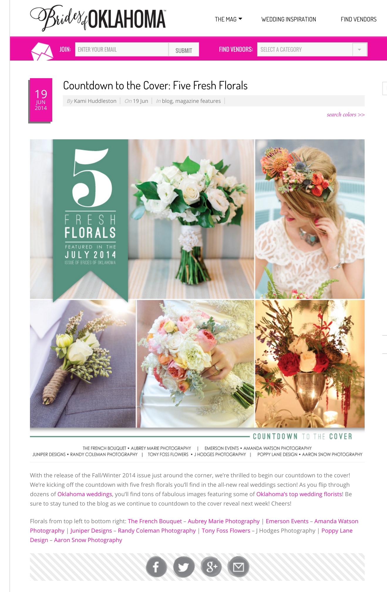 "J Hodges Photography bouquet featured on   Brides of Oklahoma  : ""5 Fresh Florals"""