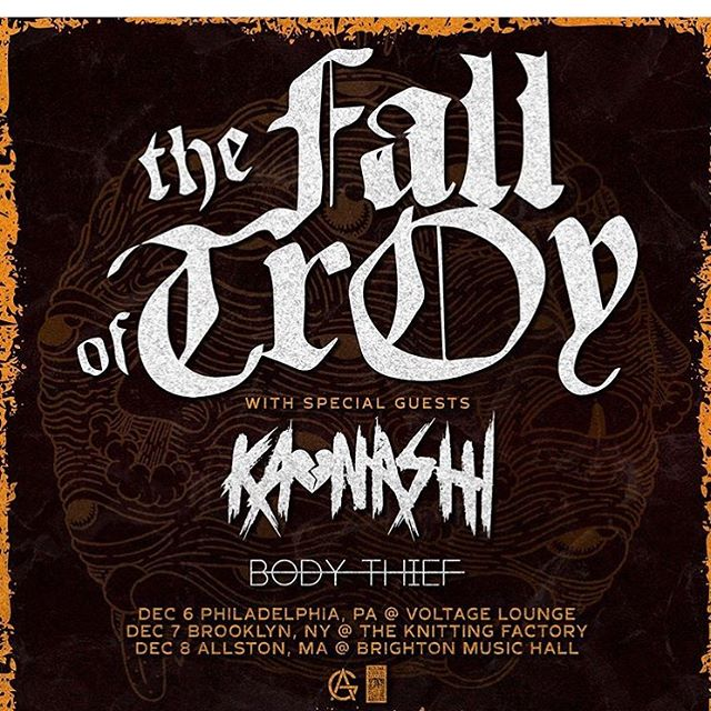 So excited for this one y'all! Opening for our favorites @thefalloftroy at @knittingfactorybk on 12.7! If you know @heykatlee at all, you know she'd be at this show even if she wasn't playing it and it's a few days after her birthday so come give her a bday hug and support the coolest bands ever @thefalloftroy @kaonashipa and @bodythief on their east coast tour.