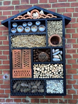 A hotel for a variety of creatures from Pinterest (click for source). These can be great, but research carefully before you build one yourself to make sure you are providing a healthy environment for each insect.