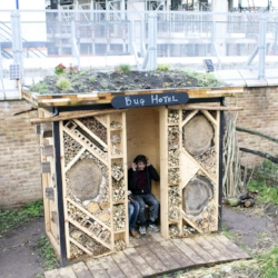 As long as we are building, why not make your bee hotel gigantic? This one is part of a listening project. (Click through to view the source material.)