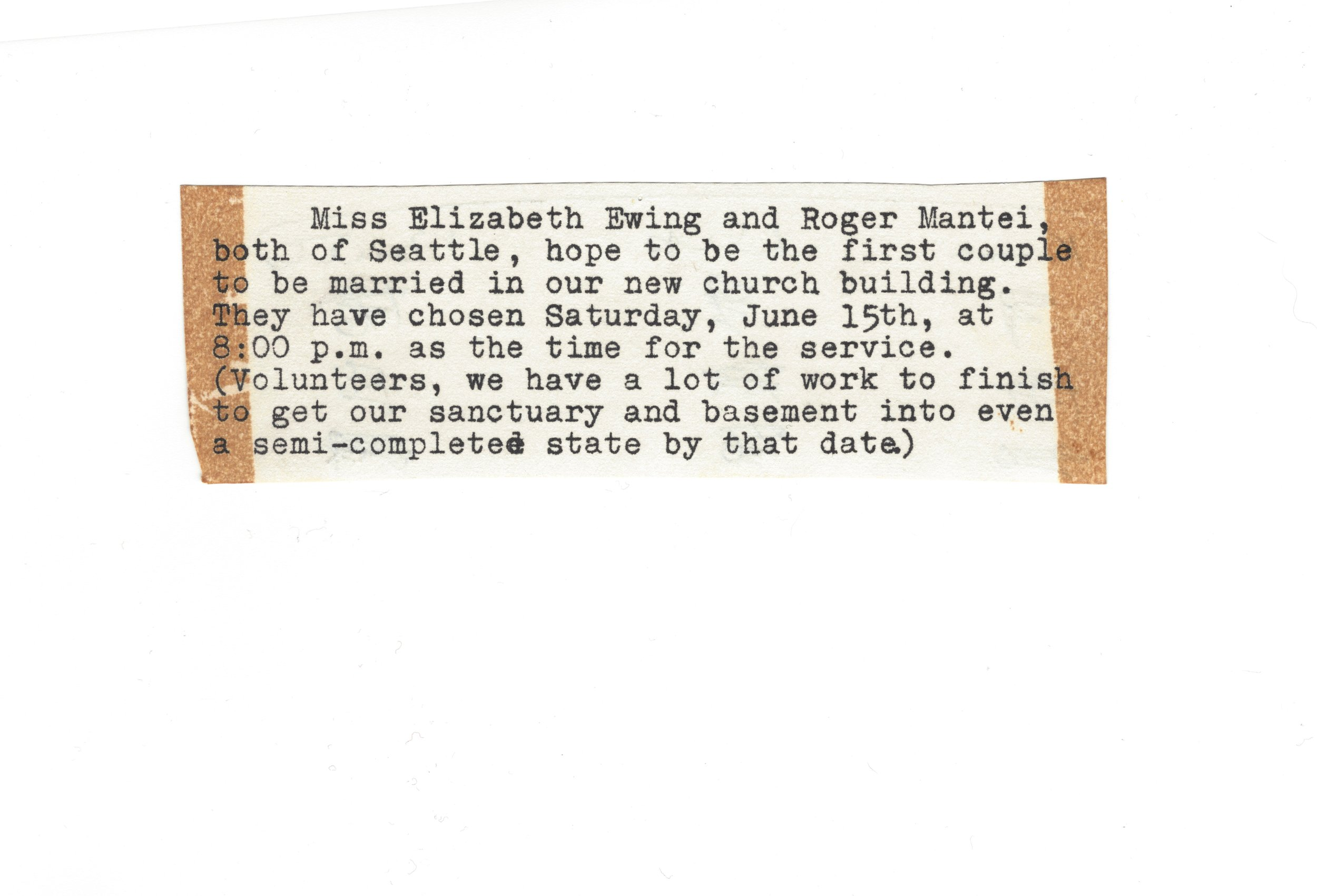 If possible, it would be nice to remove the discoloration due to the tape marks on the edge of the paper. I will be using this in a display with other items saved from 1968. This was the announcement in the church bulletin, and they are very proud to have been the first couple married in our church.