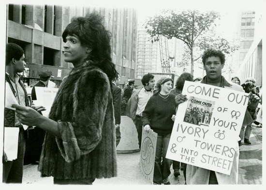 Marsha P. Johnson and other activists after the police raid on Stonewall