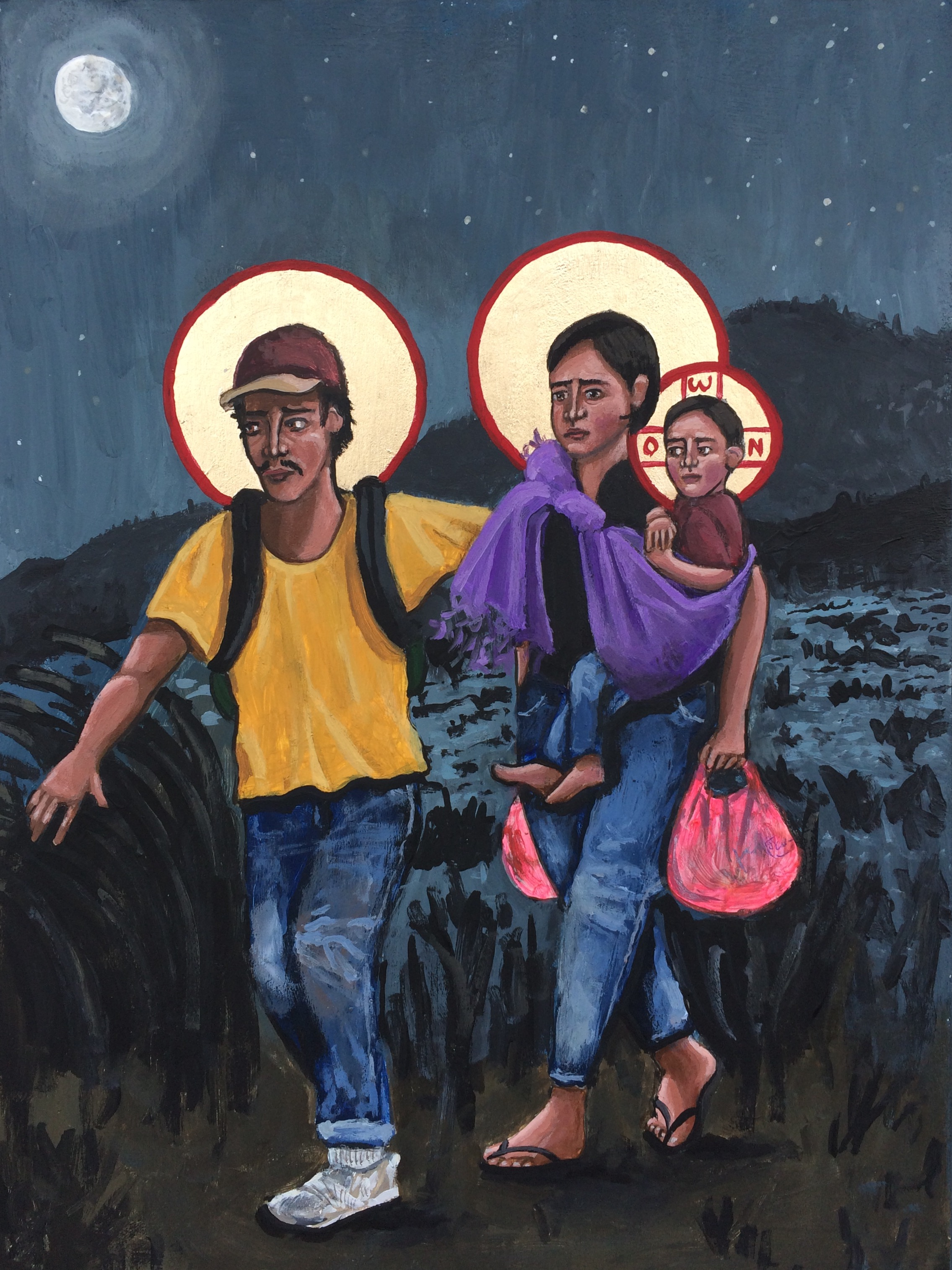 """Refugees: La Sagrada Familia"" by Kelly Latimore - https://kellylatimoreicons.com/gallery/img_2361/"