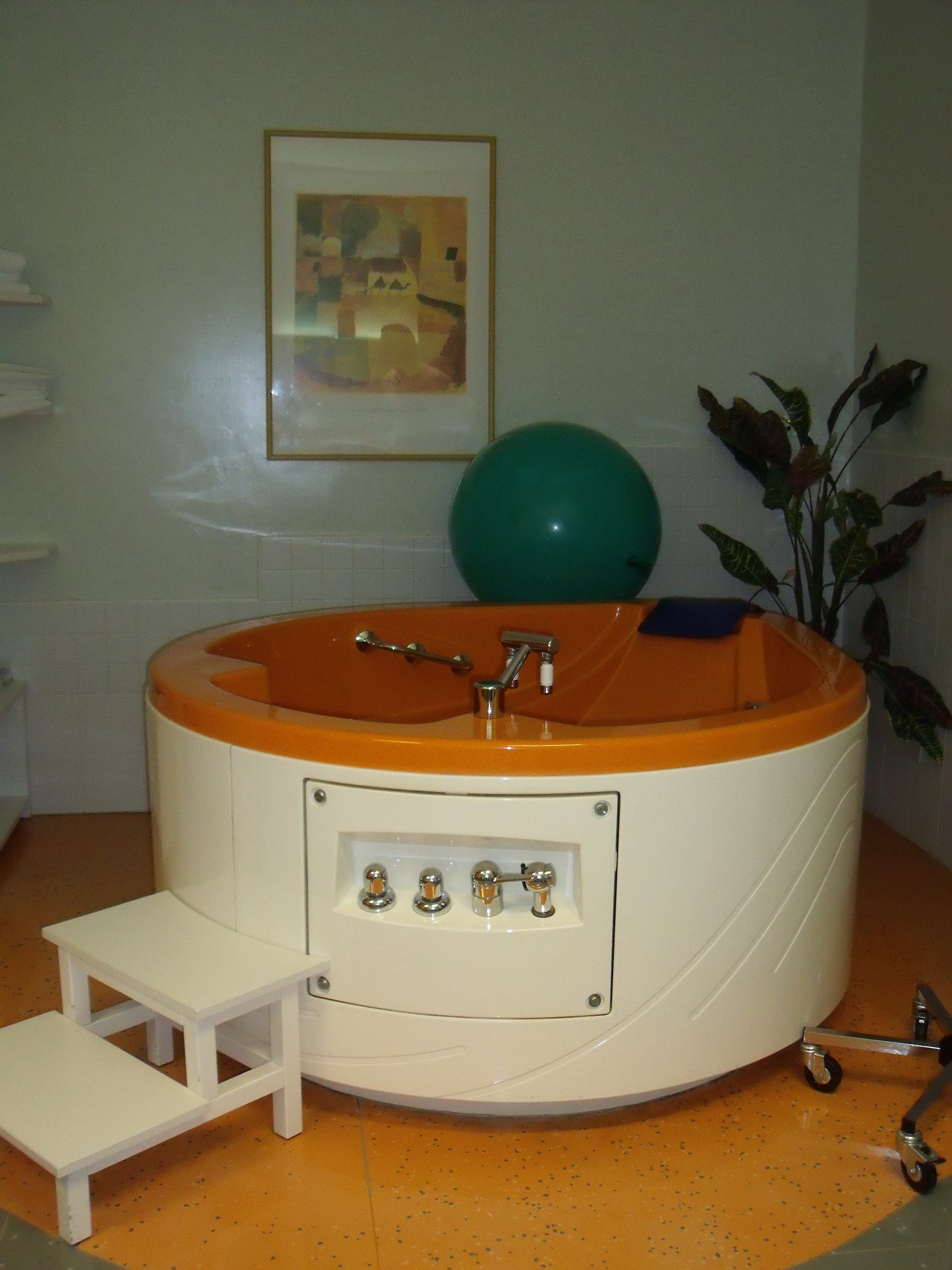 My Birthing Room at a Public Hospital in Italy - I had a wonderful midwife and gave birth in this tub. I did not have an epidural, though one had been ordered along with a doctor to administer it, if needed. After the birth,I stayed in a room with 3 other women. The bathroom was down the hall. Lactation specialists visited daily.Aside from the fathers, no visitors were allowed. There were no translators and only one doctor spoke English. I stayed for three days.We didn't pay a cent.