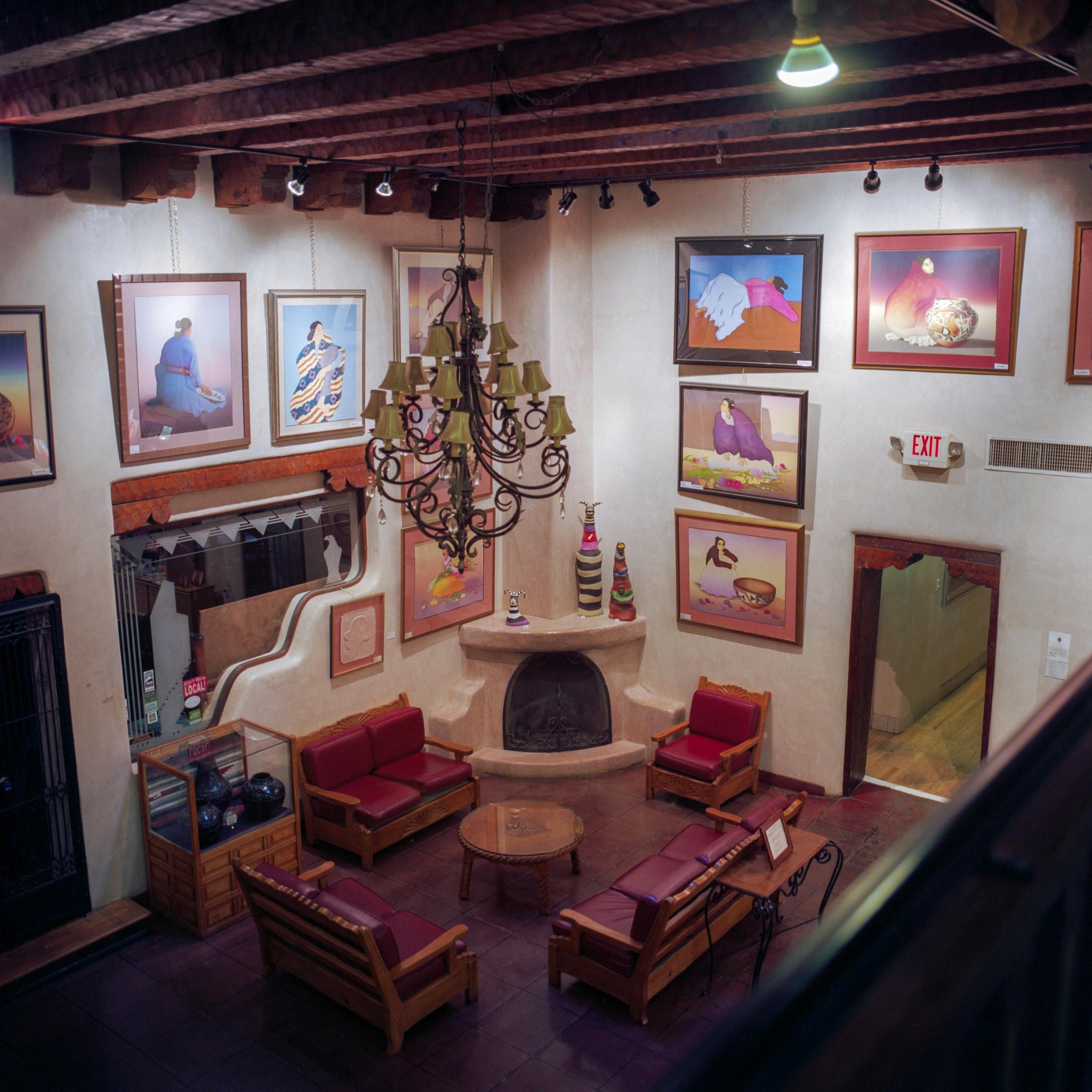 Eclectic lobby of the Hotel La Fonda de Taos, in Taos, NM.