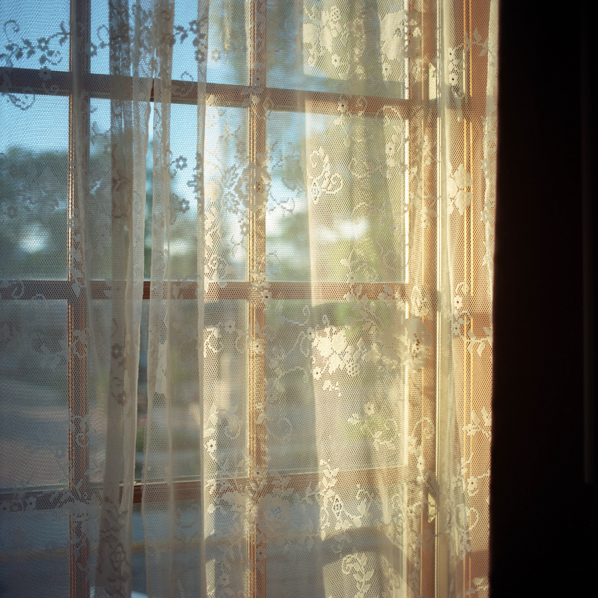 Sunset light coming through the window and curtains...