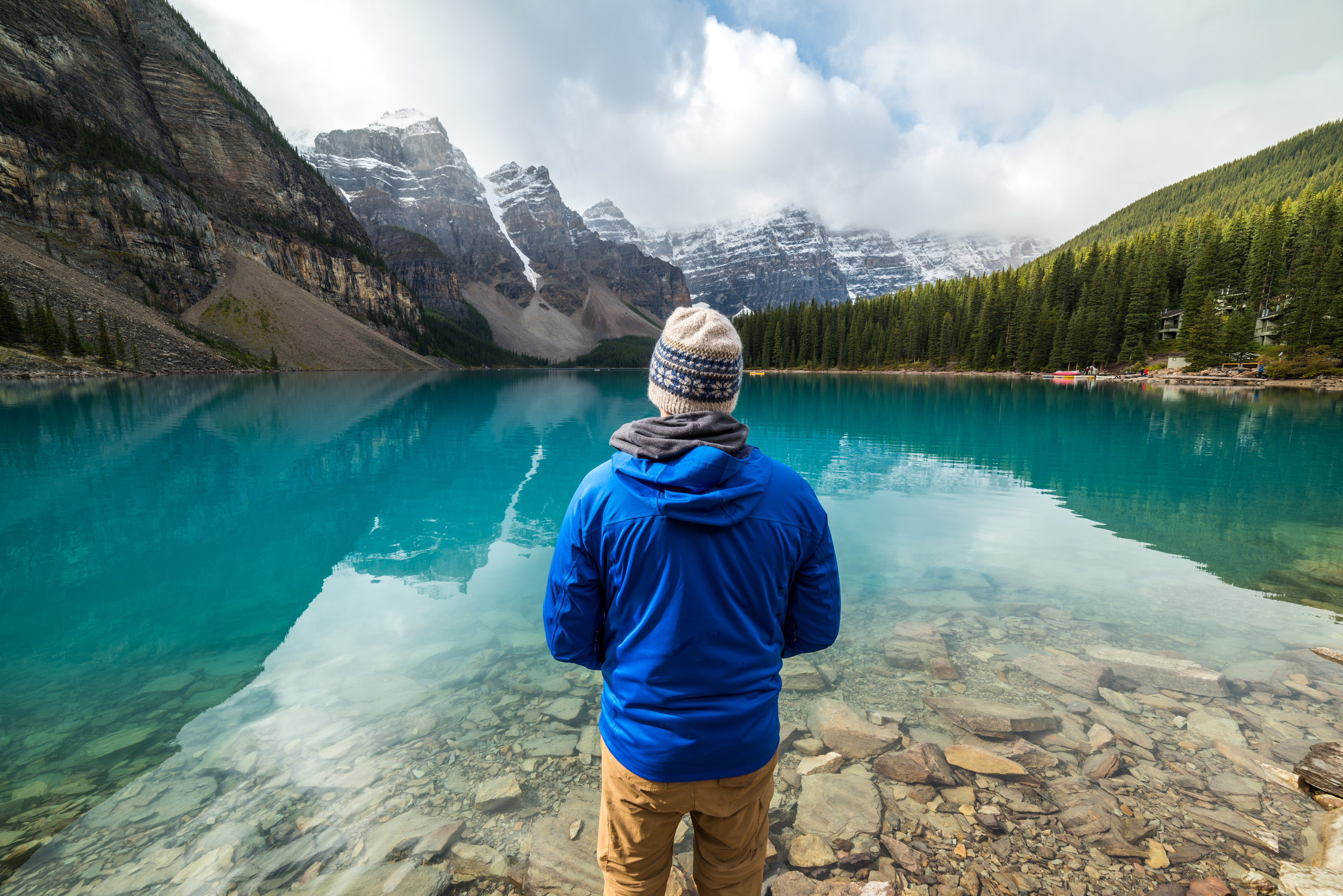 Standing at Moraine Lake, Banff National Park, AB.