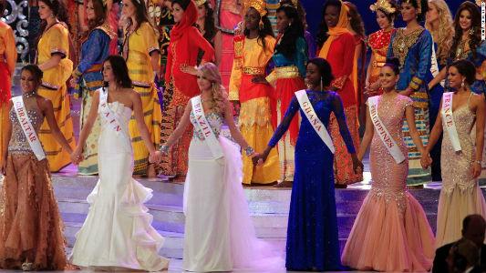 Top 6 do Miss Mundo 2013, realizado em Bali: Gibraltar, Espanha, Brasil, Gana, Filipinas e França.
