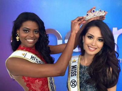 Ana Luiza abdicou e coroou Catharina Choi Nunes oficialmente como Miss Mundo Brasil 2015 no Programa Encontro com Fátima Bernardes, na Rede Globo (foto/Globo).