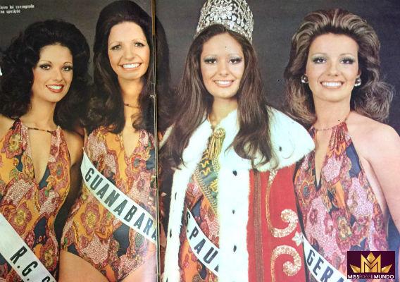 O top 4 da beleza brasileira em 1973: RS (4), GB (2), SP (1), e MG (3 e Miss Brasil Mundo).