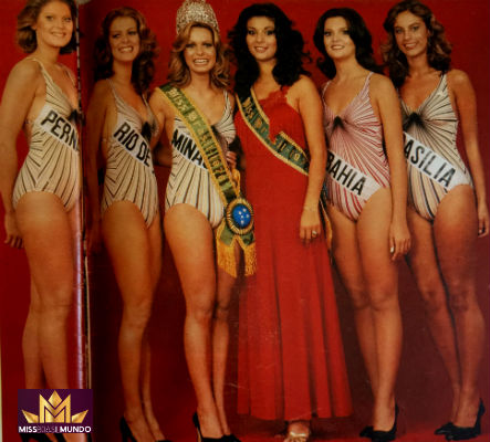 Laura Angélica da Bahia era a única morena no Top 5 do Miss Brasil 1978. A baiana foi vice e competiu em Londres.