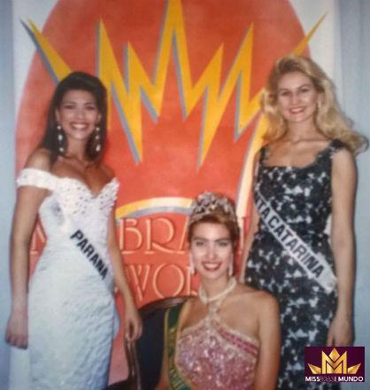 Fernanda, a vencedora de 1997, com a Miss Paraná (terceiro lugar) e a Miss Santa Catarina (quinto lugar).