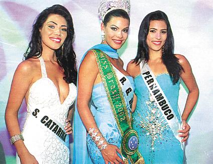 "Taíza Thomsen de Santa Catarina foi vice e garantiu o direito de representar o Brasil no Miss Mundo 2002. Posteriormente assumiu o título de ""Miss Brasil""."