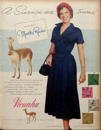 Martha Rocha em uma de muitas campanhas publicitárias após ter sido eleita Miss Brasil e vice-Miss Universo.