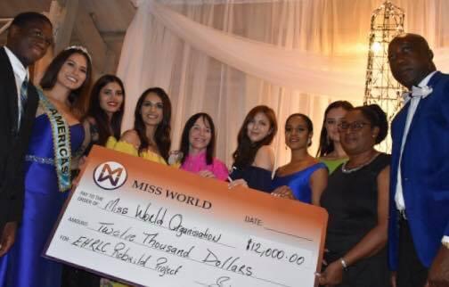 """MWO e """"Beauty With a Purpose"""" fizeram doação de 12.000 dólares para o projeto social apoiado pela Miss Ilhas Virgens Britânicas (MWO)."""