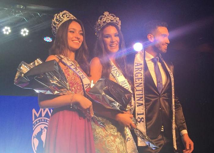 Os eleitos da noite: A nova Miss Mundo Argentina é rodeada pela Miss Teen e pelo Mister Mundo Argentina.