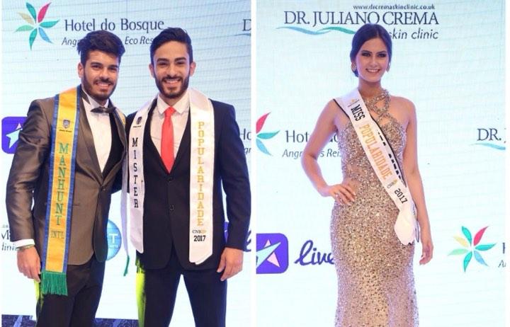 Os ganadores do Mister Popularidade CNB e Miss Popularidade CNB 2017: Mister Acre CNB (empatado com Santa Catarina) e Miss Santa Catarina CNB. Ambos foram semifinalistas do CNB 2017 (fotos Leonardo Rodrigues).