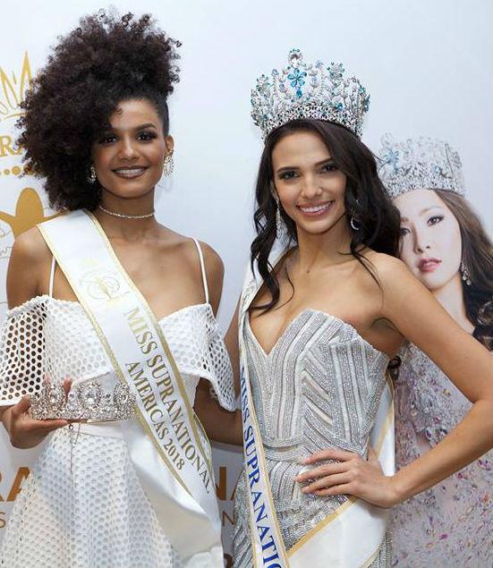 Bárbara Reis do Brasil, Miss Supranational Américas, e Valeria Velazquez de Porto Rico, Miss Supranational 2018.