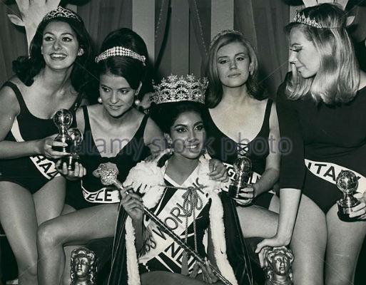 O sorriso de Marluci Mavalier (extrema esquerda) ao conquistar o quarto lugar no disputadíssimo Miss Mundo 1966. Grécia (3), Índia (vencedora), Iugoslávia (2) e Itália (5), completaram um dos mais fortes grupos de finalistas da história do concurso Miss Mundo.