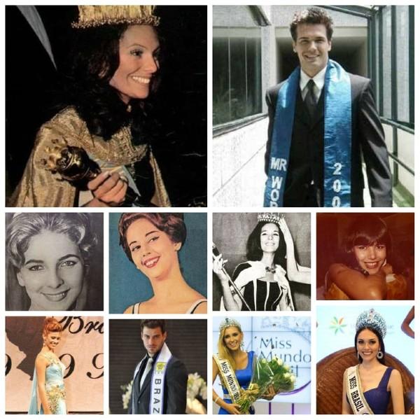 Primeira fileira: Lucia Petterle, Miss World 1971, e Gustavo Gianetti, Mister World 2003; Segunda fileira: Alda Maria de Moraes (1961), Vera Lúcia Saba (1962), Vera Lúcia Ferreira Maia (1963) e Cátia Pedrosa (1983); Terceira fileira: Paula Carvalho (1999), Lucas Malvacini (Mister Brasil CNB 2011), Mariana Notarângelo (2012) e Gabrielle Vilela (2017).