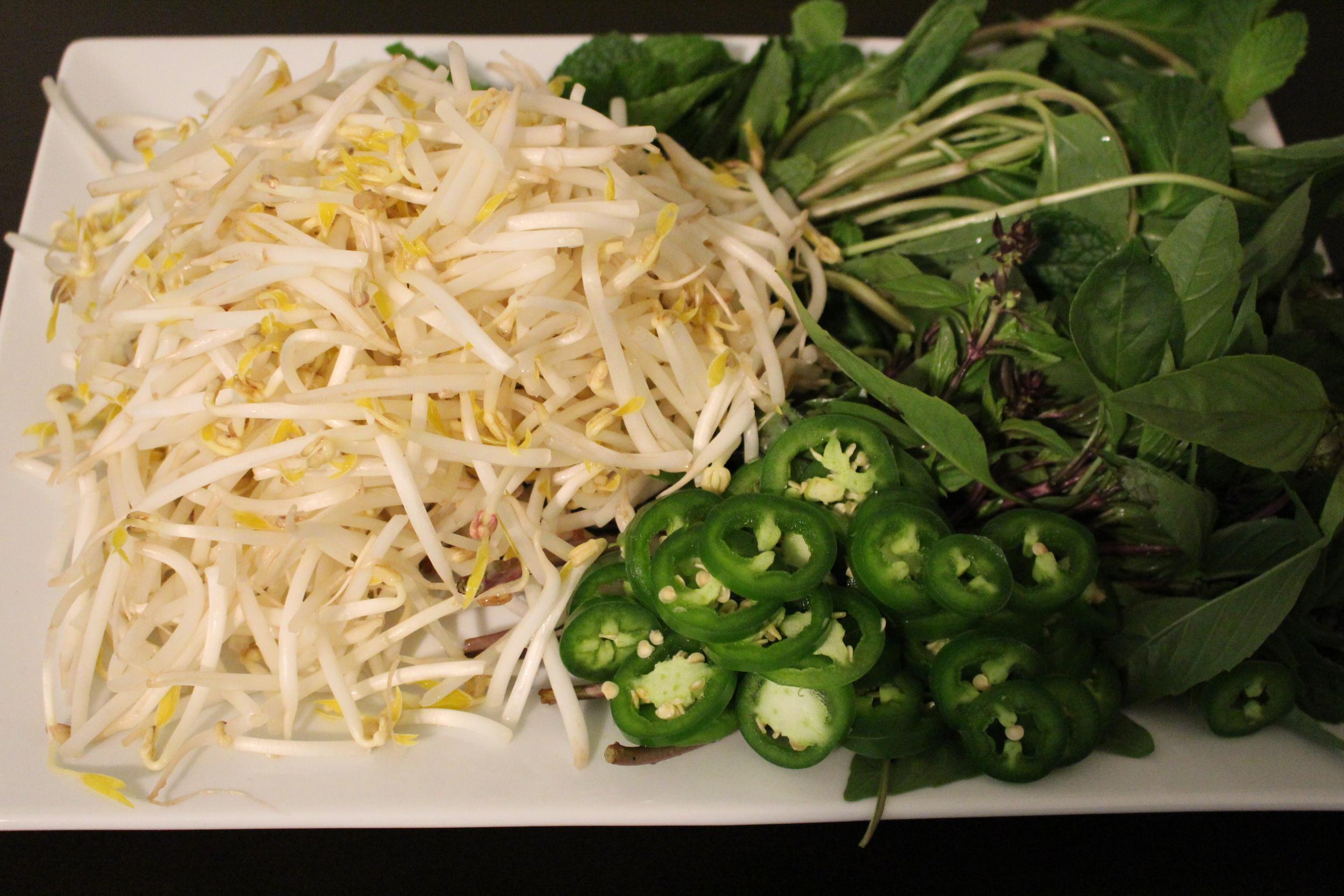 Basil, mint leaves, mung beans, sereno pepper