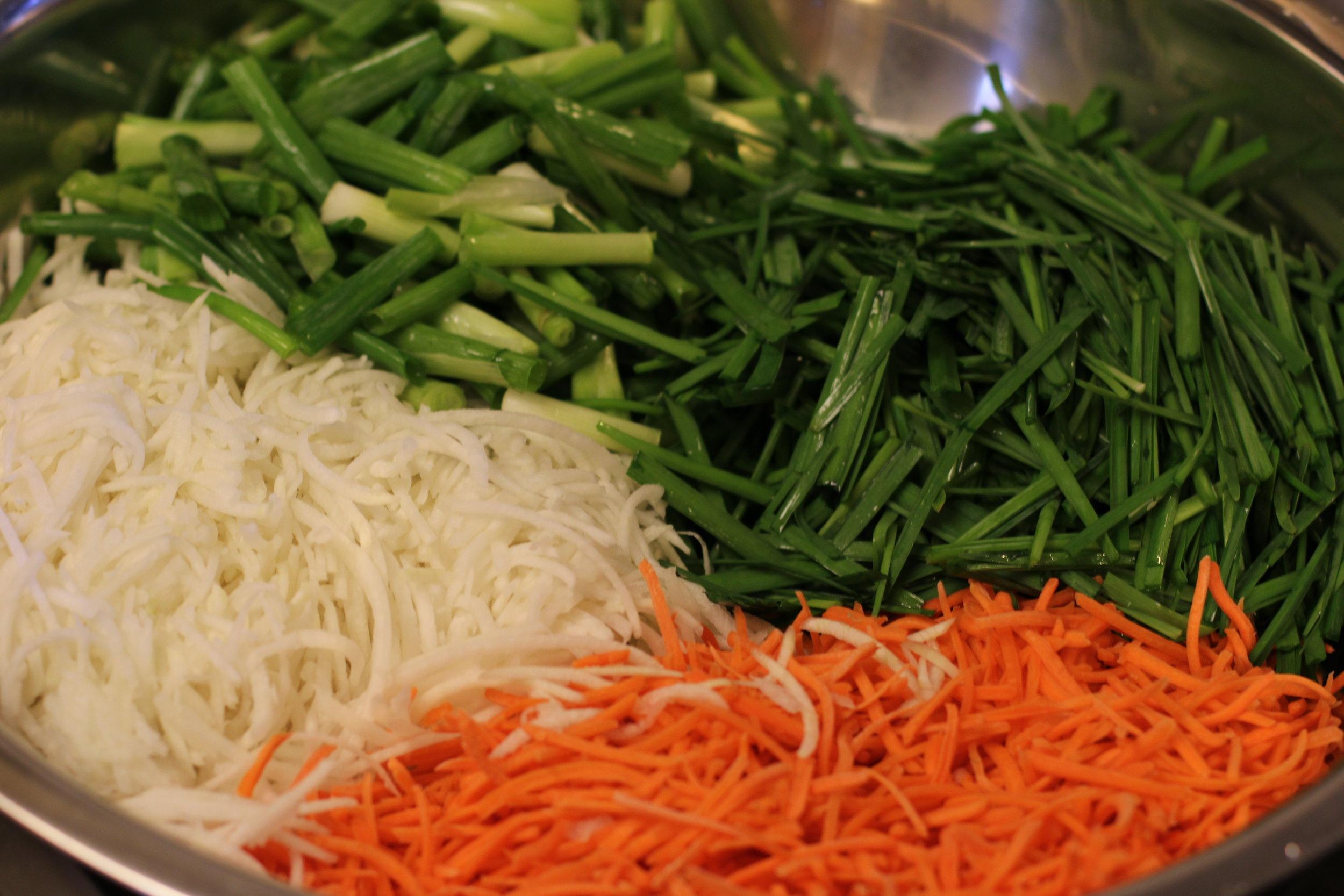 Korean Radish, Carrots, Green Onions and Asian Chives